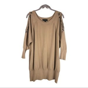 Lane Bryant Brown Cold Shoulder Sweater w/Beading